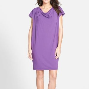 Eileen Fisher African Violet Drape Front Dress